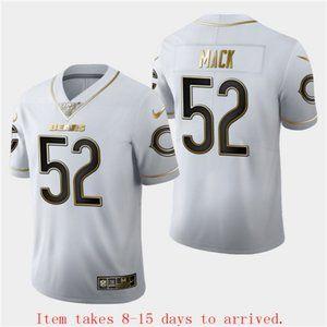 Bears #52 Khalil Mack White Golden Jersey 100th
